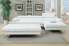 3PC White Bonded Leather Tufted Sectional Sofa with Ottoman