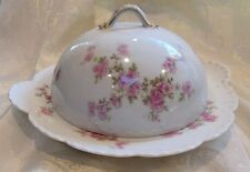 Haviland & Co Limoges Covered Buttered Cheese Dish 3 Piece Pink Roses Gold Trim