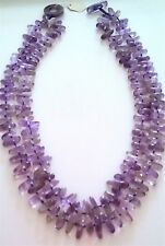"""Beautiful Vintage 100% Natural Amethyst Necklace, 25"""" long. 2 string."""