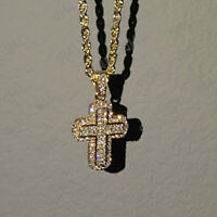 "14k Yellow Gold Over 1.00 carat Round Cut Diamond Cross Pendant Necklace W/ 18"""