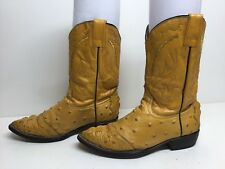 Vtg Boys Jar Boots Cowboy Ostrich Print Leather Light Brown Boots Size 19