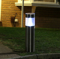 Large Stainless Steel Driveway Post Lights Solar Powered Garden Path Lights NEW