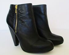Chinese Laundry Black Leather Ankle Boots Booties Wicked Size 7.5