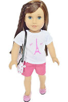 "Doll Clothes 18"" Shorts Pink Paris Top Purse Shoes Fits American Girl Dolls"