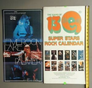 """EMERSON LAKE and PALMER,1975 Original 12x22"""" 13Q Poster,signed by photographer"""