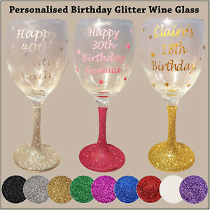 Personalised Glitter Wine Glass - Happy Birthday - 18th 21st 40th 50th Gift XMAS