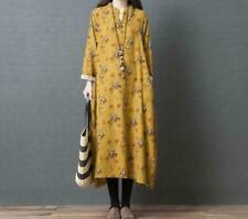 Women's Retro Cotton Linen Cheongsam Loose Baggy Kaftan Tops Long Maxi Dresses