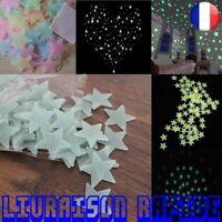 100 pcs 3D étoiles Oobscurité Lumineuse Sticker Muraux Enfants Chambre Bébé Déco
