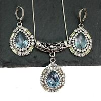 Vintage Style Silver Plated Blue And White Cubic Zirconia Necklace Earrings Set