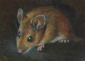 LHBissell ORIGINAL OIL PAINTING ACEO MINIATURE Animal Magic: Woodmouse