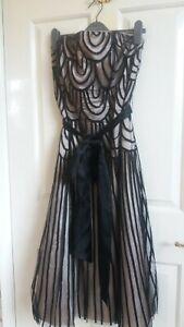 Pearce Fionda black strapless Gatsby/ party/evening satin tie sash dress size12