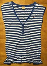 Hollister Women's Blue & White Striped Short Sleeve Henley Shirt - Size: Small