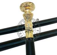 Gentlemens Classic Walking Stick Cane Style Black Wooden Polished Brass Handle