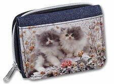 Persian Kittens by Roses Girls/Ladies Denim Purse Wallet Christmas Gift, AC-60JW