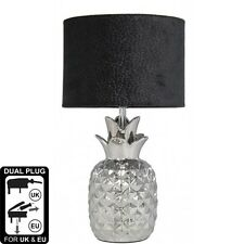 Stunning Quirky Silver Pineapple Table Lamp With 10 Inch Black Snakeskin Shade