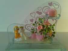 Glass tealight candle holder pink roses,heart, male female figure Gift valentine
