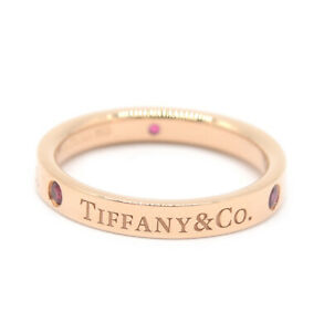 AUTH TIFFANY&Co. Ring Flat Band 750 K18 RG Rose Gold 3P Ruby US 6