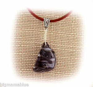 Unisex Black Agate Wire Wrap Pendant Necklace Leather Cord Cleanses Aura Yinyang
