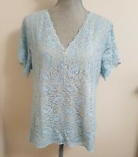 DIALOGUE WOMEN'S BLUE & NUDE LINED LACE SHORT SLEEVE TOP 1X