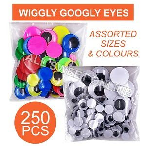 250pcs Mixed Size Wiggly Googly Eyes Kids School Craft Black & Multi-coloured