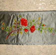 EXQUISITE 19th CENTURY VICTORIAN VERY FINE EMBROIDERED SILK, ROSES & ROSEBUDS