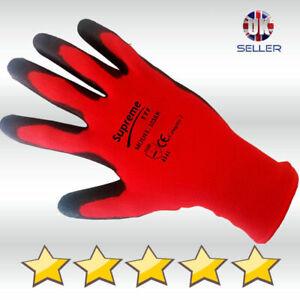 24 Pairs 100% NITRILE COATED Red Black Nylon Work Gloves Builders Gardening Grip