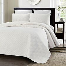 Chezmoi Collection Geometric Quilted Oversize Bedspread Coverlet Set Queen White