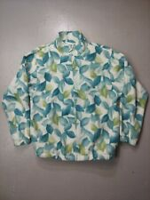 Alfred Dunner Zip Up Fleece jacket Floral leaf Pattern Women's Size small