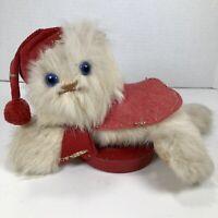 Vintage Rabbit Fur Stuffed Cat Kitten w/Glass Eyes Christmas Musical WindUp RARE