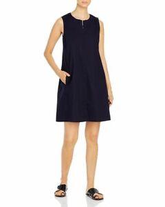 NWT Eileen Fisher Ink Stretch Organic Cotton Poplin w/ Zip Front Dress $198 M
