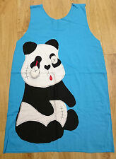 Katie crush clothing/ eyeless panda/ baggy blue ladies vest top/ size M - 149