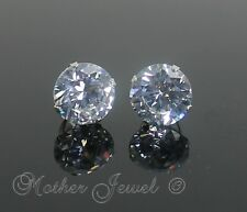 Mens Ladies 10mm REAL SOLID 925 STERLING SILVER Simulated Diamond Studs Earrings