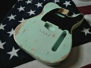Aged Relic Fender LIC. Telecaster Body Swamp Ash 52Spec Heavy Aged Seafoam Green