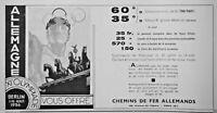 PUBLICITÉ PRESSE 1936 ALLEMAGNE XIéme OLYMPIADE BERLIN CHEMINS DE FER ALLEMAND
