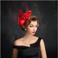 Red Retro Women's Wedding Party Hat Veil Prom Evening Church/Dress Formal Cap