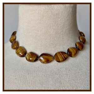 Vintage Tigers Eye Glass Beads Necklace Vintage Costume Jewellery 40s 50s