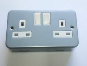 Metal Clad Double / Twin Electrical Switch Socket 13amp (Free Delivery)