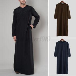 INCERUN Men Muslim Kaftan Saudi Arab Jubba Full Length Ethnic Tunic Dress Shirts
