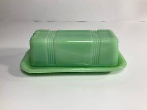 Cross Striped, Covered Stick Butter Dish, Jadeite Green Glass,