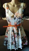 CUE WHITE AND FLORAL FIT N FLARE DRESS WITH ORANGE BELT SIZE 10. Tiny Fault.