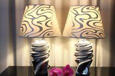 2 Lampen weiß silber Nachttischlampe Leuchte Keramik Tischlampe Tischleuchte 41