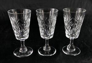 Three Stunning English Vintage Tudor Lead Crystal liqueur shot glasses floral
