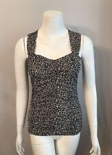 Stunning White House Black Market Cheetah Leopard Print Ruched Tank Top Size XS