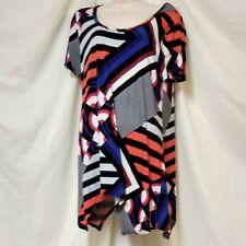 Premise Tunic Top Size L Large Misses Assymetric Hemline Color Geometric Pop