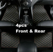 4pcs/set Black/Beige PU Leather Liner Protector Car Floor Carpet Mats Pedal Pad