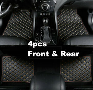 4pcs/set Black/Beige PU Leather Liner Protector Car Floor Carpet Mats Pedal Pad