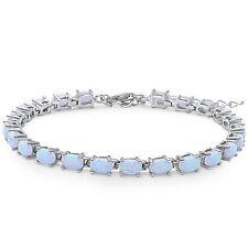 Oval Shape White Fire Opal .925 Sterling Silver Bracelet