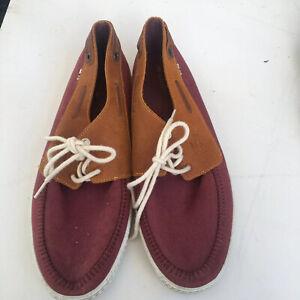La Coste Boat Shoes Size 46/12US Mens Canvas Burgundy