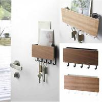 Decorative Wooden Key Hook Rack Hanger Mail Letter and Key Holder Organizer
