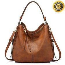 Womens Large Leather Handbags Shoulder Tote Bag Hobo Purse Vintage Bucket Brown